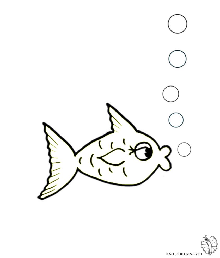 Disegno Di Pesce E Bollicine Da Colorare Per Bambini