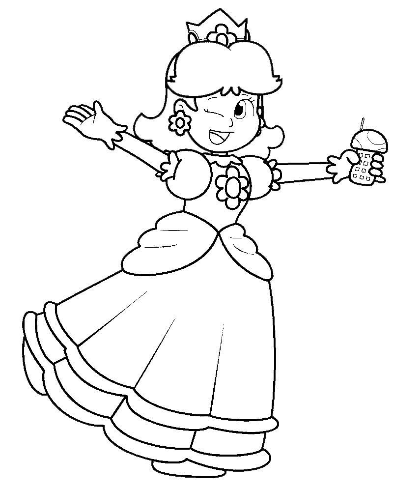 Disegno Di Principessa Daisy Da Colorare Per Bambini