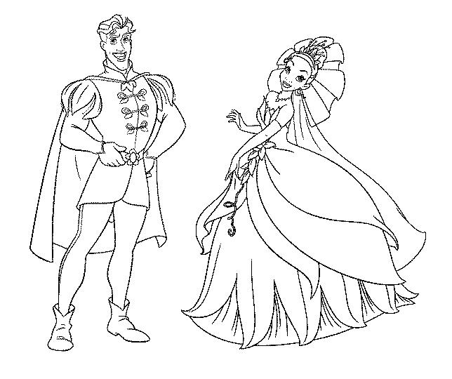 Favorito Disegno di Principessa Tiana e il Principe da colorare per bambini  WX16