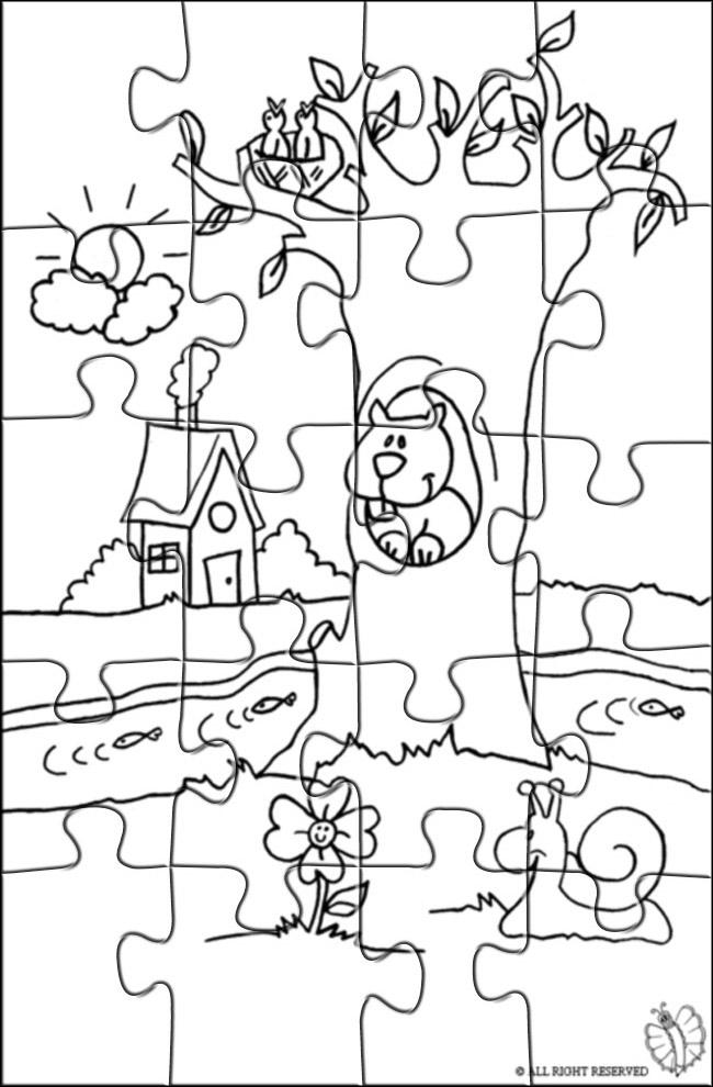 Disegno Di Puzzle Di Paesaggio Naturale Da Colorare Per Bambini