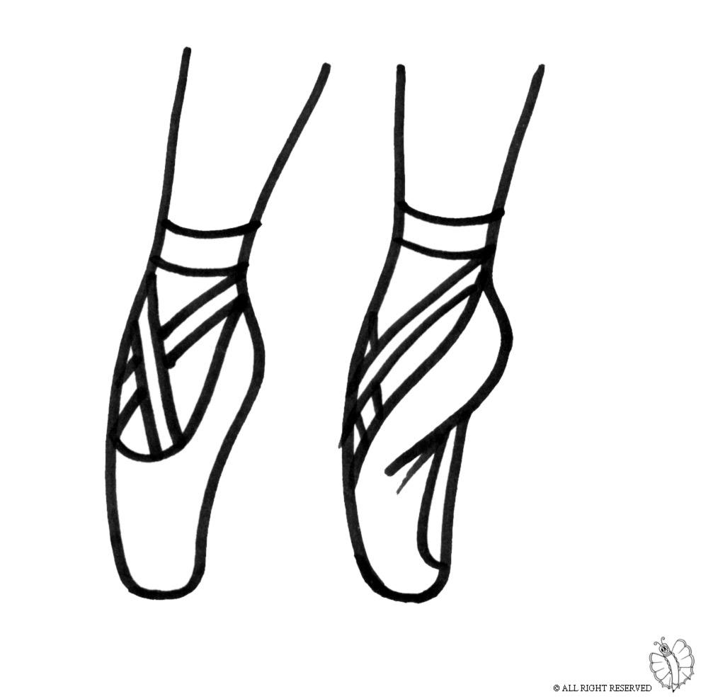 Super Disegno di Scarpe Ballerina da colorare per bambini  SI86