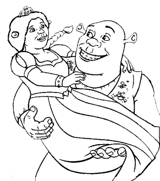 Disegno Di Shrek E Fiona Da Colorare Per Bambini