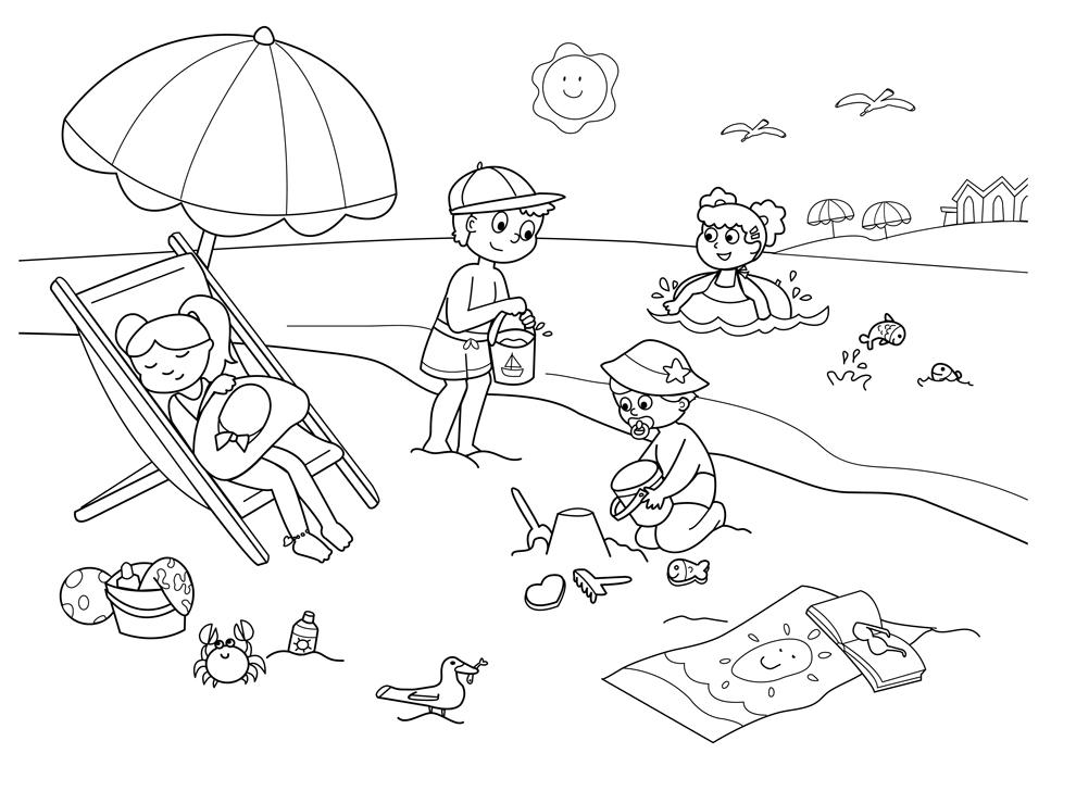Disegno Di Spiaggia Sole E Mare Da Colorare Per Bambini