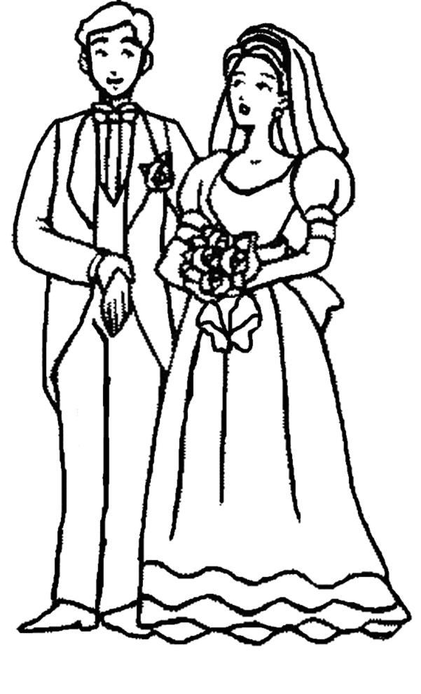 Amato Disegno di Sposi con Bouquet da colorare per bambini  HN65