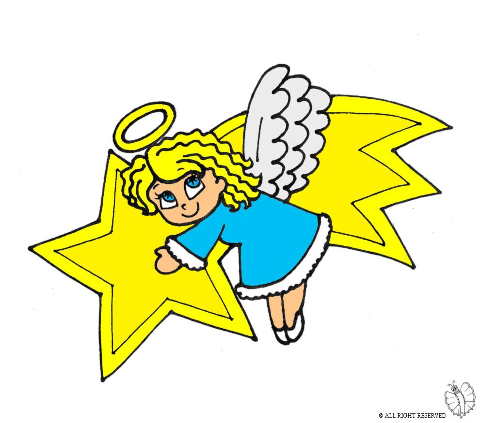 disegno di stella cometa e angioletto a colori per bambini ... - Disegno Stella Colorate