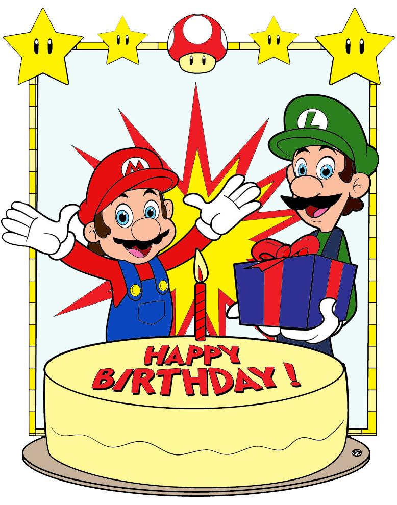 Estremamente Disegno di Super Mario Buon Compleanno a colori per bambini  CM96