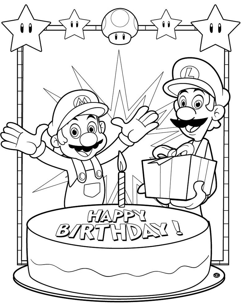 abbastanza Disegno di Super Mario Buon Compleanno da colorare per bambini  WW78