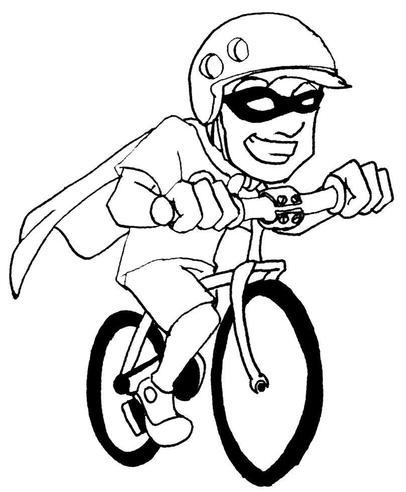 Disegno Di Supereroe In Bicicletta Da Colorare Per Bambini Disegnidacolorareonline Com