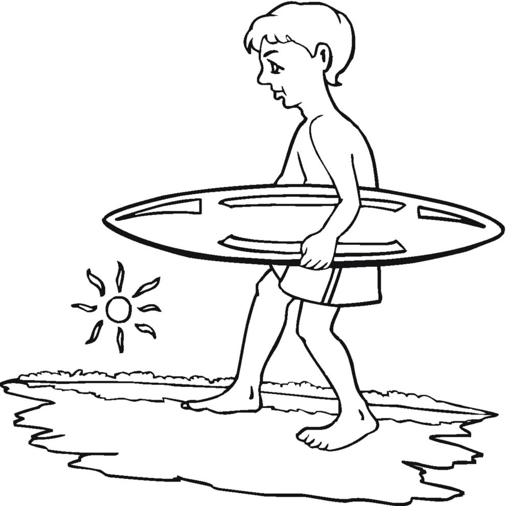 Disegno Di Surf E Mare Da Colorare Per Bambini