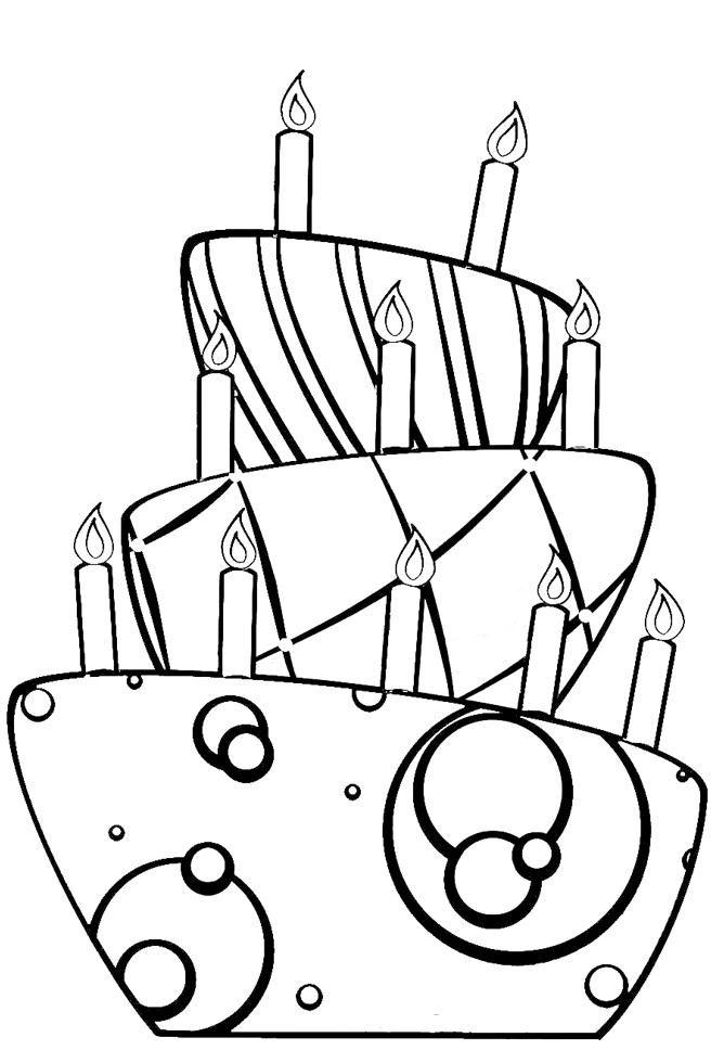 Amato Disegno di Torta di Compleanno da colorare per bambini  MR09