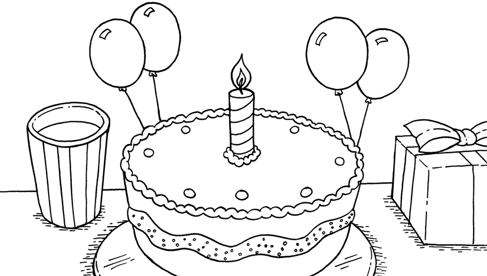 Estremamente Disegno di Torta Primo Compleanno da colorare per bambini  QT35