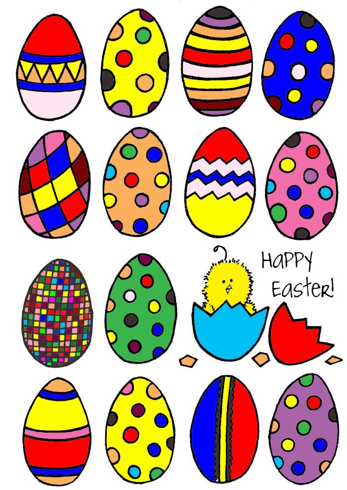 Molto Disegno di Uova Di Pasqua Dipinte a colori per bambini  IX95