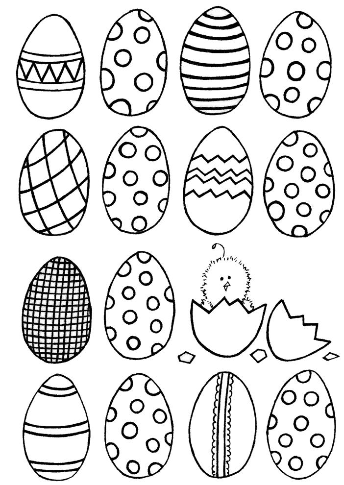 Estremamente Disegno di Uova Di Pasqua Dipinte da colorare per bambini  PB26