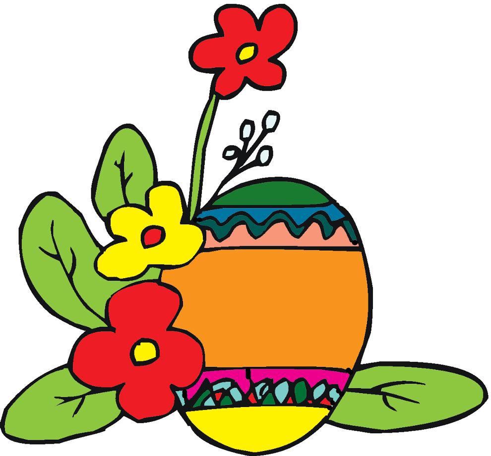 Disegno Di Uova Di Pasqua Con Fiori A Colori Per Bambini