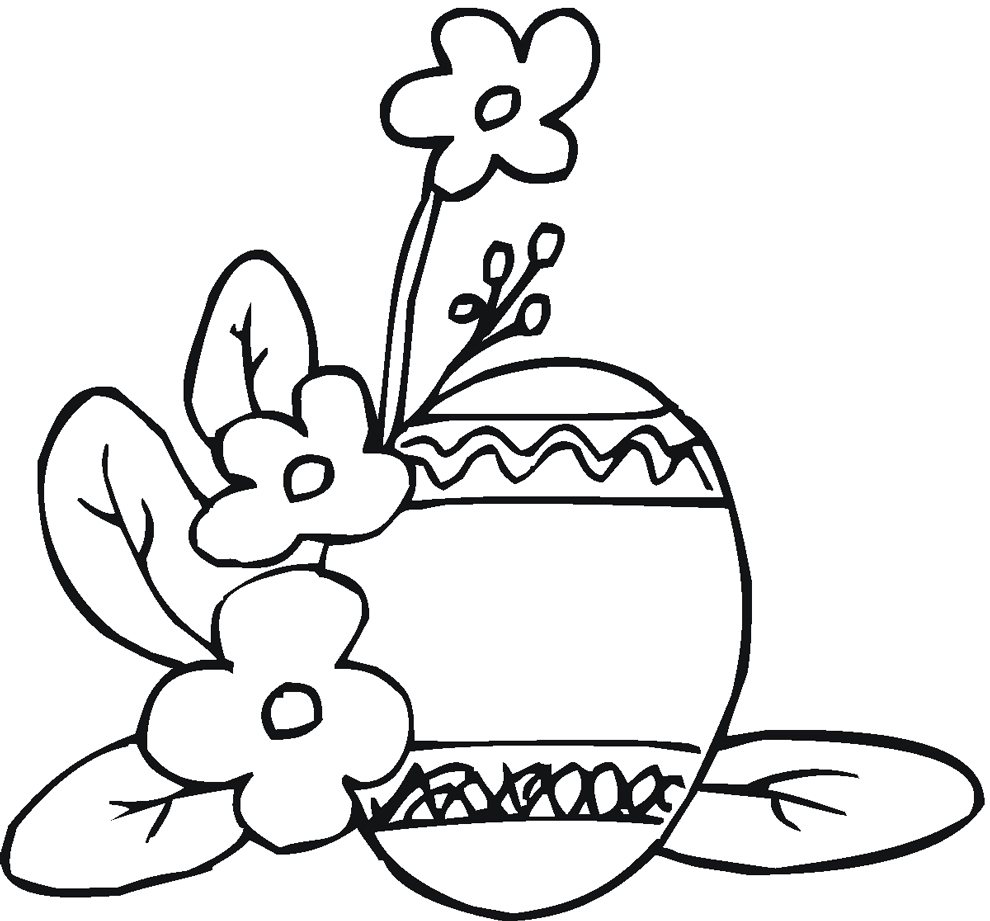 Disegno Di Uova Di Pasqua Con Fiori Da Colorare Per Bambini
