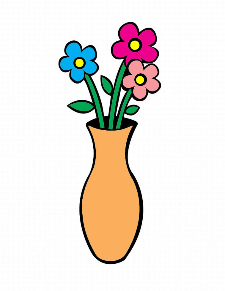 Disegno Di Vaso Con Fiori A Colori Per Bambini