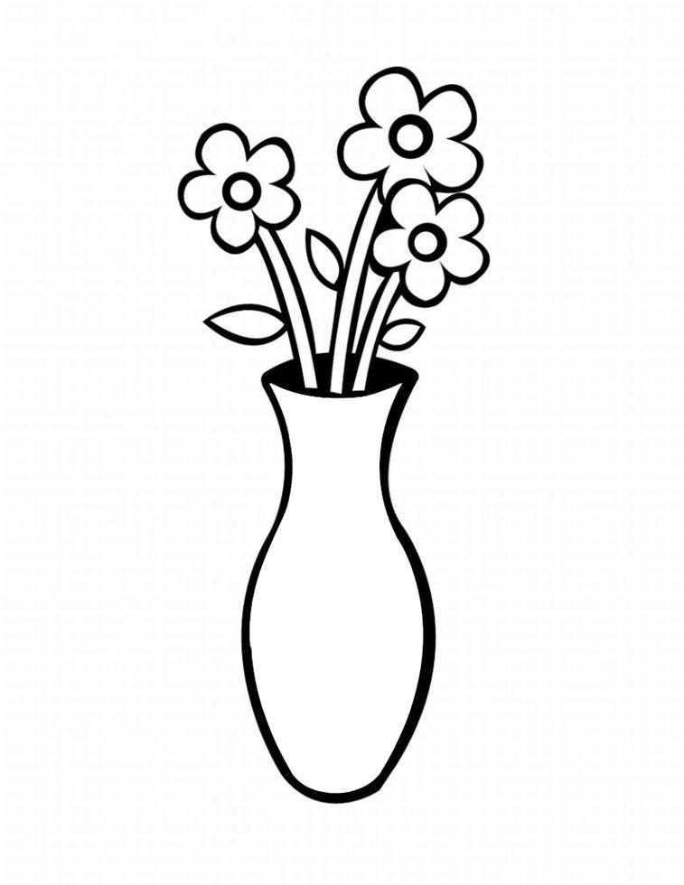 Amato Disegno di Vaso con Fiori da colorare per bambini  WQ96