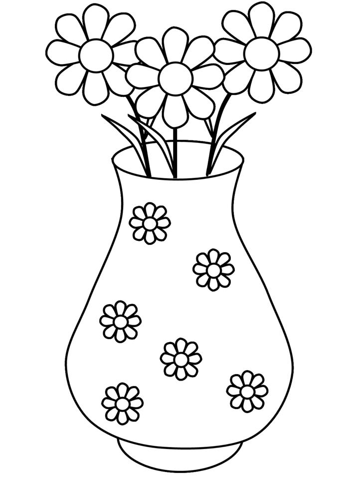disegni da colorare vaso con fiori