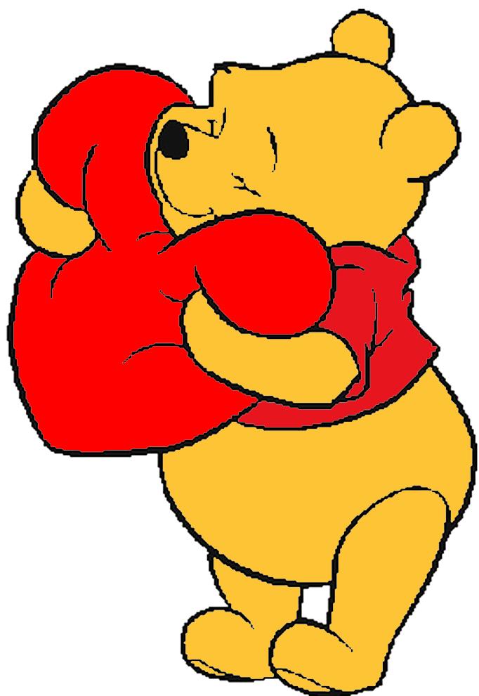 Disegno Di Winnie Pooh Con Il Cuore A Colori Per Bambini