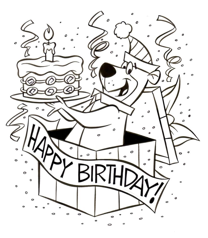 Popolare Disegno di Yoghi Happy Birthday da colorare per bambini  MO04