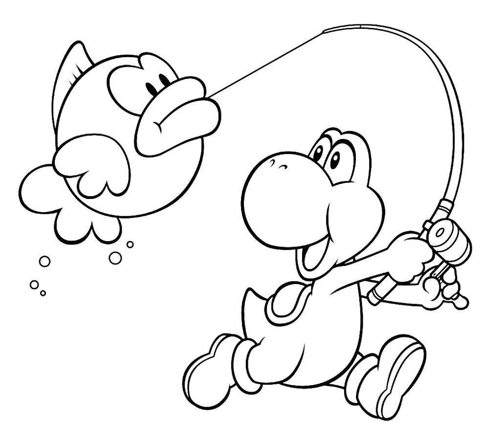 Estremamente Disegno di Yoshi e il Pesce Palla da colorare per bambini  UR01